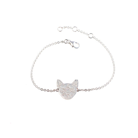 Cat with tattoos bracelet silver by Camilla Prytz Lux