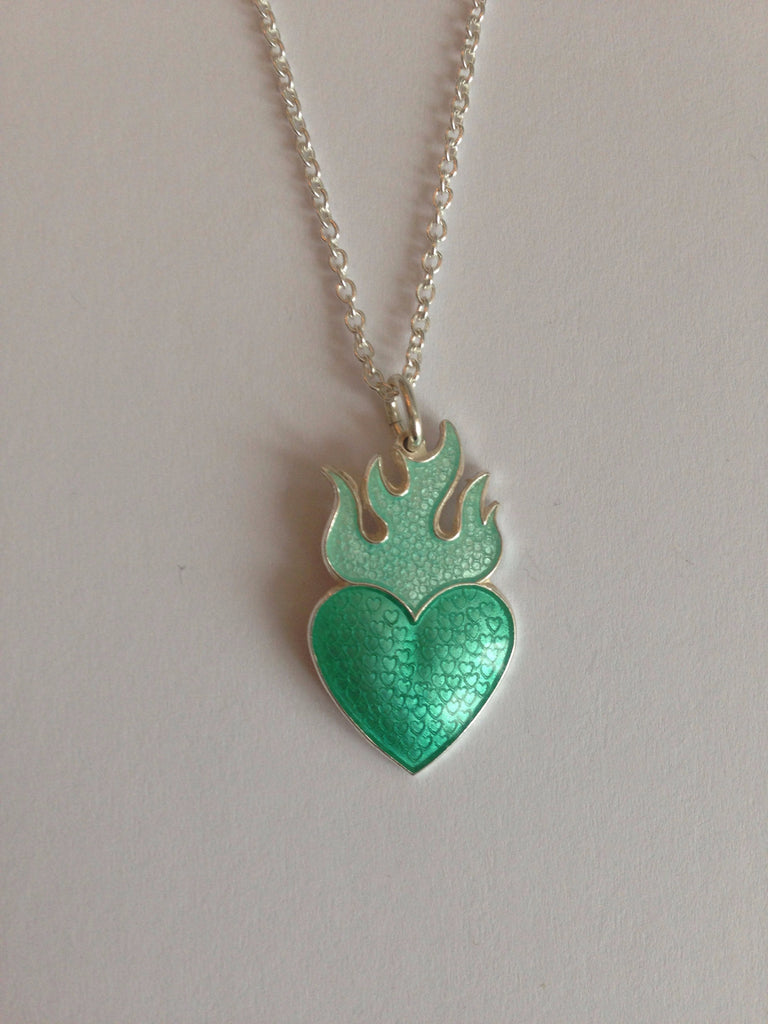 HEART WITH FLAMES by Camilla Prytz green