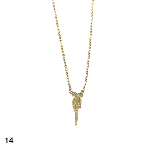 Parrot with diamond necklace goldplated silver by Camilla Prytz Lux