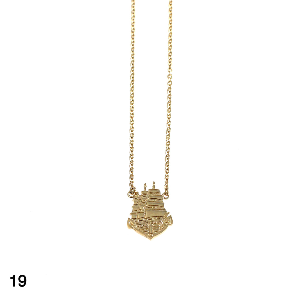 Ship sailor tattoo necklace goldplated silver by Camilla Prytz Lux