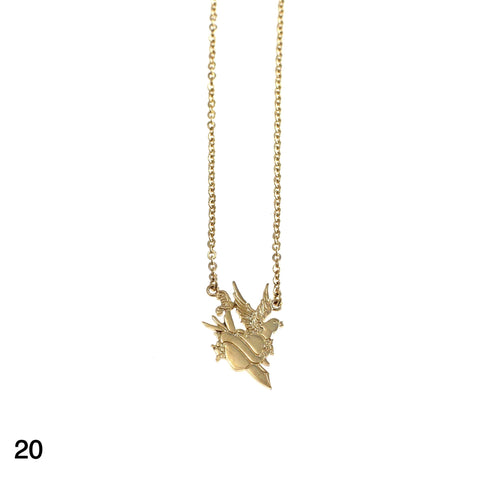 Heart & Sword & Bird tattoo necklace goldplated silver by Camilla Prytz Lux