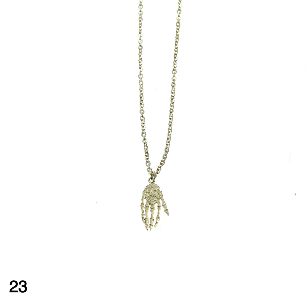 Skeleton hand necklace goldplated silver by Camilla Prytz Lux