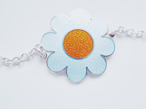 FLOWER POWER BRACELET by Camilla Prytz LIGHT BLUE/ ORANGE