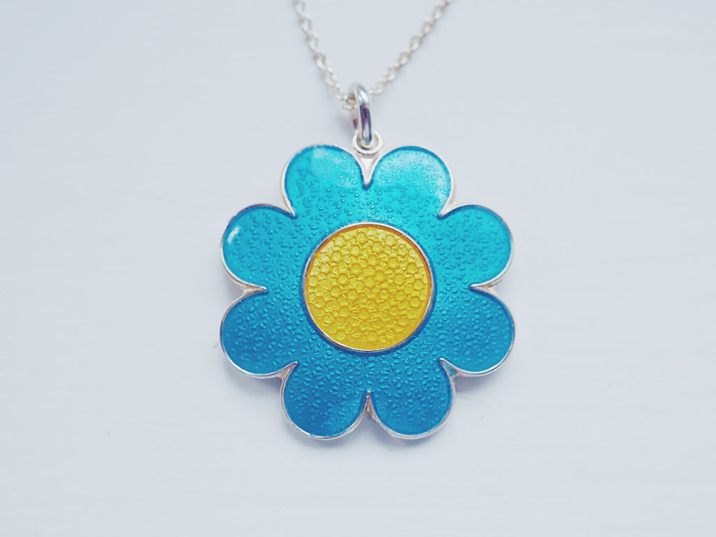 FLOWER POWER NECKLACE by Camilla Prytz turqoise/yellow
