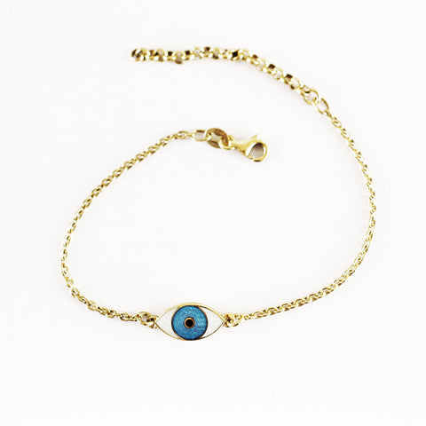 GOLDPLATED MINI THIRD EYE BRACELET TURQOISE by Camilla Prytz
