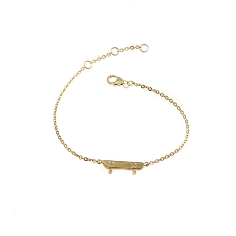 Skateboard with 8 stones bracelet goldplated silver by Camilla Prytz Lux