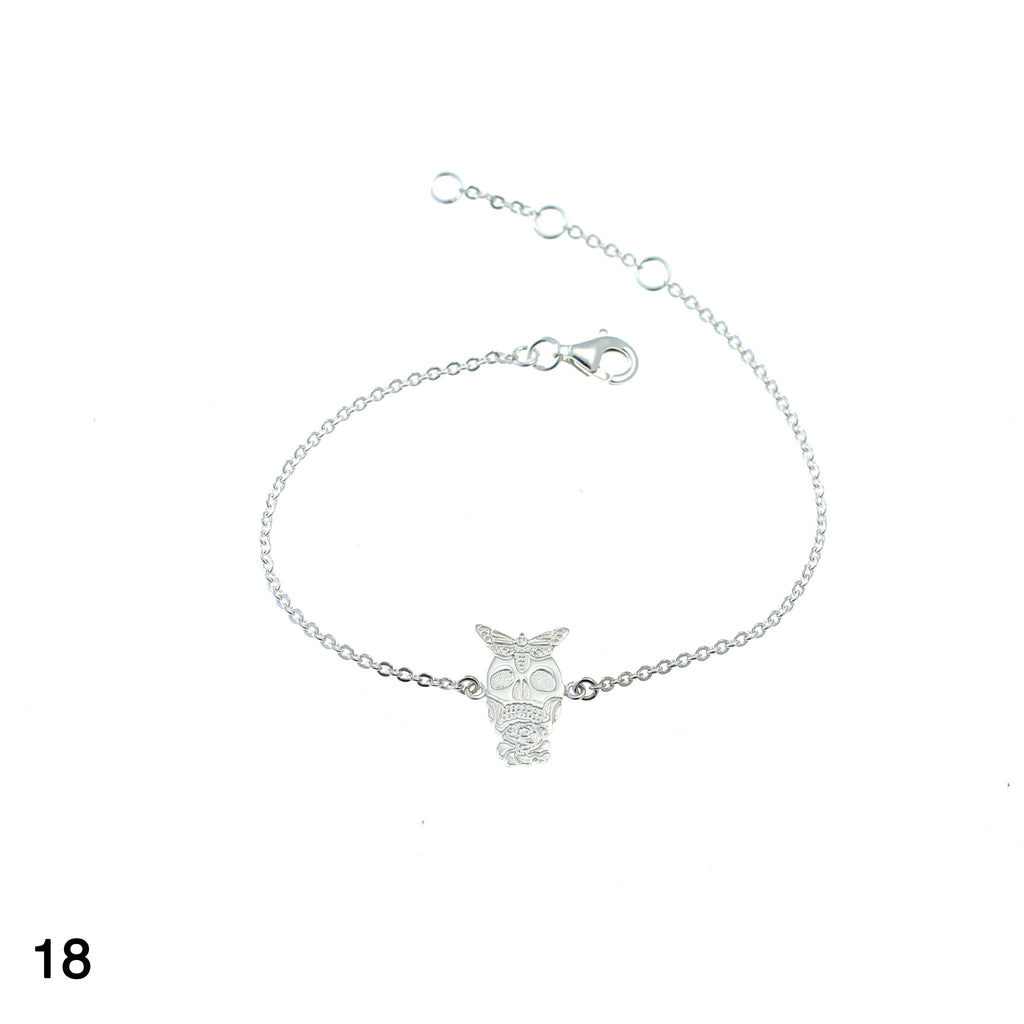Skull with butterfly & rose bracelet silver by Camilla Prytz Lux