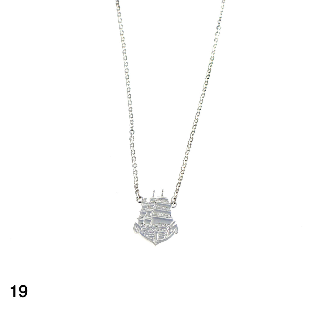 Ship sailor tattoo necklace silver by Camilla Prytz Lux