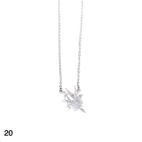 Heart & Sword & Bird tattoo necklace silver by Camilla Prytz Lux