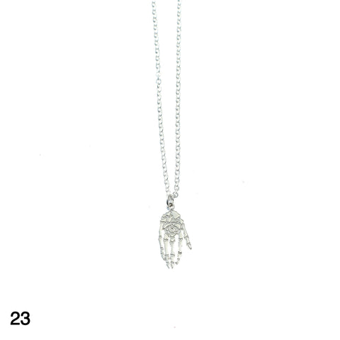 Skeleton hand necklace silver by Camilla Prytz Lux