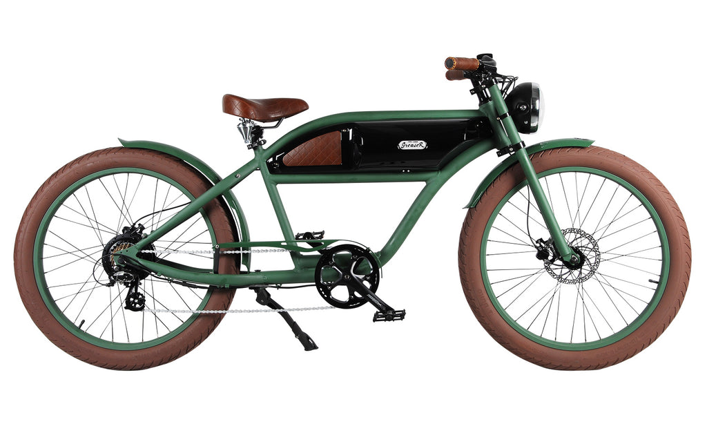 Michael Blast T4B Greaser 350w Electric Bike Cafe Racer - Green/Black