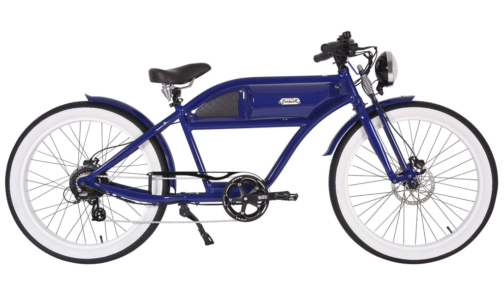 Michael Blast T4B Greaser 500w Electric Bike Cafe Racer - 2020 Springer Edition - Blue/Blue