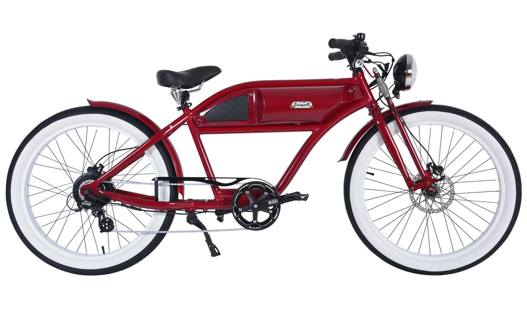 Michael Blast T4B Greaser 500w Electric Bike Cafe Racer - 2020 Springer Edition - Red/Red