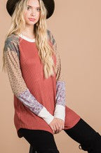 7th Ray color block raglan sleeve top