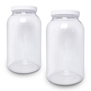 2 Pack - 1 Gallon Glass Jar Wide Mouth with Airtight Foam Lined Plastic Lid