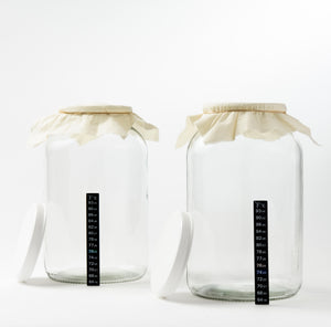 One Gallon Glass Fermenting Jars with Muslin Cloth Covers and Temp Strips - Set of 2