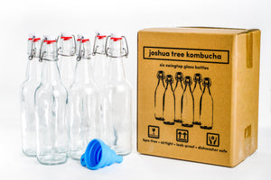 Flip Top Glass Bottles - Pack of Six 6 with Rubber Funnel