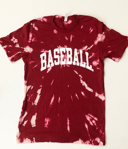 TIE-DYE RED BASEBALL. TEE