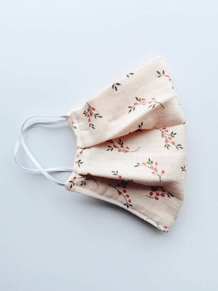 Organic Cotton (GOTS) Reusable Face Mask In Dusty Pink Floral Branches Print - Regular Size