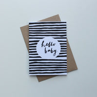 Hello Baby Black Stripes Greeting Card