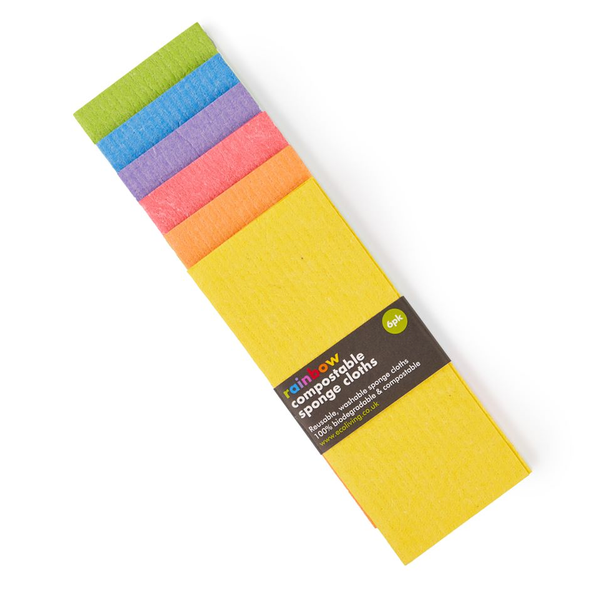 Compostable Sponge Cleaning Cloths - Rainbow 6 pack