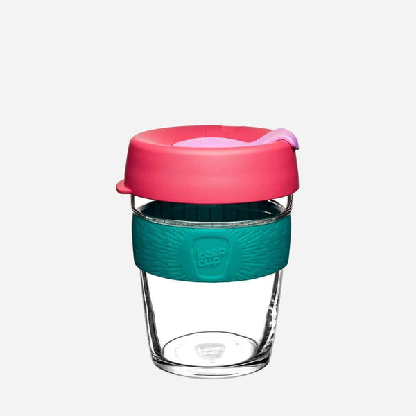 KeepCup Glass (Red Lid with Blue Silicone Band)