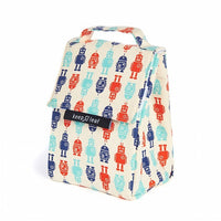 Robots Pattern Organic Cotton Insulated Lunch Bag
