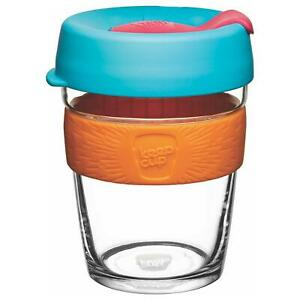 KeepCup Glass (Blue Lid with Orange Silicone Band) 8oz/12oz