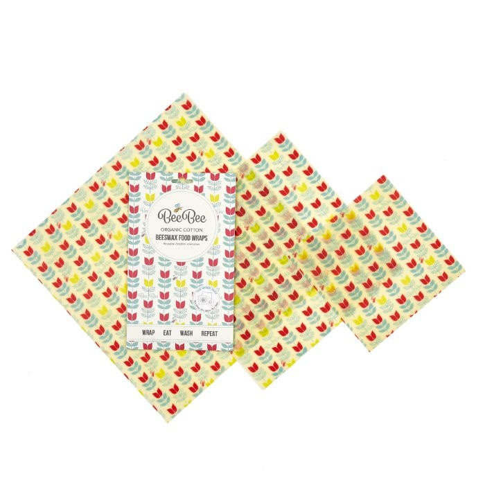 Beeswax Food Wraps - 3 Pack (Tulip Pattern)