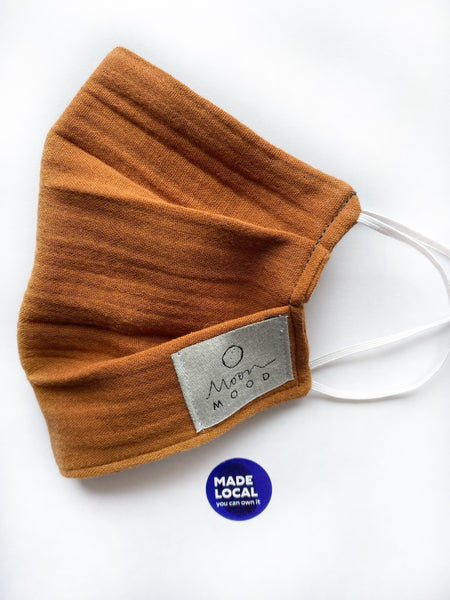 Organic Cotton (GOTS) Reusable Face Mask In Burnt Orange - Regular Size