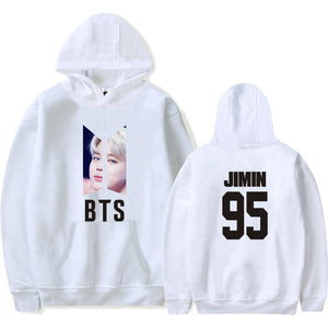 BTS Bias Printed Hoodies in White jimin - BTS clothing