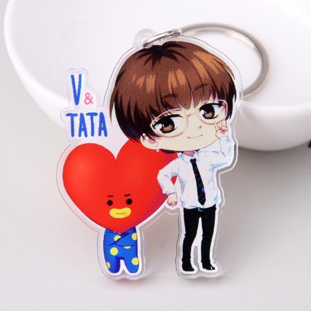 BTS Cartoon Keychains - bts accessories tata