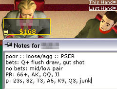 Taking notes in Online Poker