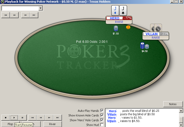 Hold'em hand history with poker tracker