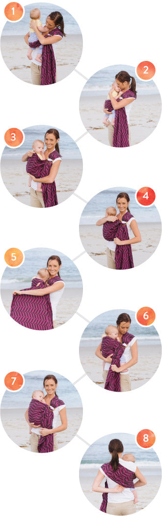 Ring Slings - Tummy to Tummy or Hip Carry Instructions