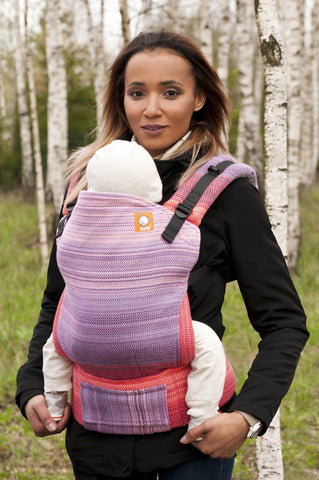 Wrap Conversion Half Standard WC Carrier - Evening Flame Pink Weft - Baby Tula