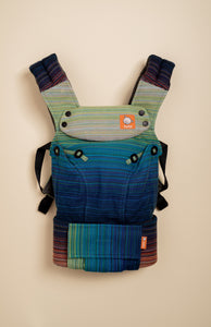 Stewed Rhubarb Oh She Glows (medium blue weft) - Tula Signature Baby Carrier