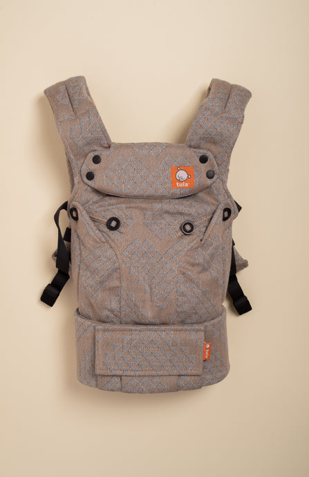 Lolly Wovens Geo Heart Stone Latte - Tula Signature Baby Carrier Tula Wrap Conversion | Baby Tula