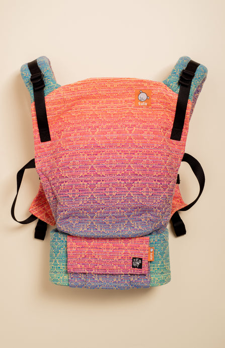 Apple Blossom Wovens x Chicibeanz Handwoven Sugar Reef (gold weft/kaleidoscope weave) - Tula Signature Baby Carrier