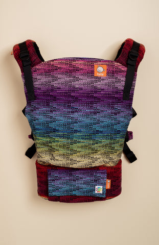 Rainbow Frog Skittles (black weft) - Tula Signature Baby Carrier