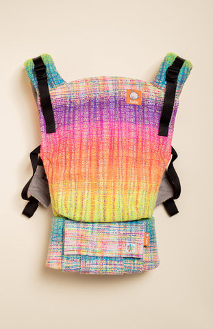Rainbow Frog 'Stronger' (rainbow pooling weft with sparkles) - Tula Signature Baby Carrier