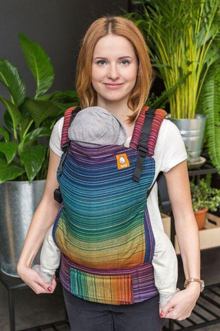 Baby Tula Full Standard Wrap Conversion Carrier - Girasol Magnificent Rainbow Cuervo Weft