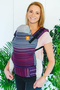 Half Standard Wrap Conversion Carrier - Midnight Snack Herringbone Purpura Romana Weft Wrap Conversion - Baby Tula