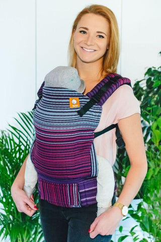 Half Standard Wrap Conversion Carrier - Midnight Snack Herringbone Purpura Romana Weft Wrap Conversion | Baby Tula