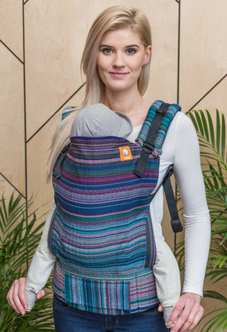 Half Toddler Wrap Conversion Carrier - Myth Cuervo Weft Herringbone Weave Wrap Conversion | Baby Tula