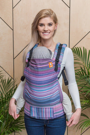 Half Toddler Wrap Conversion Carrier - Myth Rosa Fuscia Weft Herringbone Weave Wrap Conversion | Baby Tula
