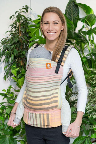 Half Toddler Wrap Conversion Carrier - The Pier Flan de Caramelo Diamond Weave