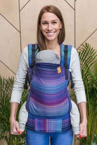 Baby Tula Full Toddler Wrap Conversion Carrier - Girasol Upelkuchen Azul Capitan Weft Herringbone Weave
