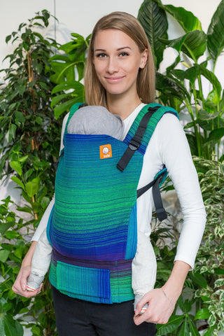 Half Toddler Wrap Conversion Carrier - The Happiest Bird Royal Weft 1