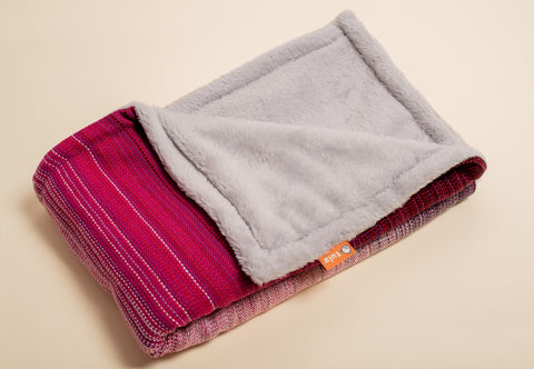 Stewed Rhubarb Deepest Love (cherry weft) - Tula Signature Handwoven Heirloom Blanket